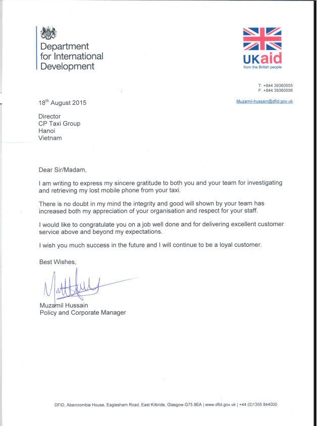 Thu cam on tu hoi dong anh - Thư cảm ơn từ quỹ UK Aid