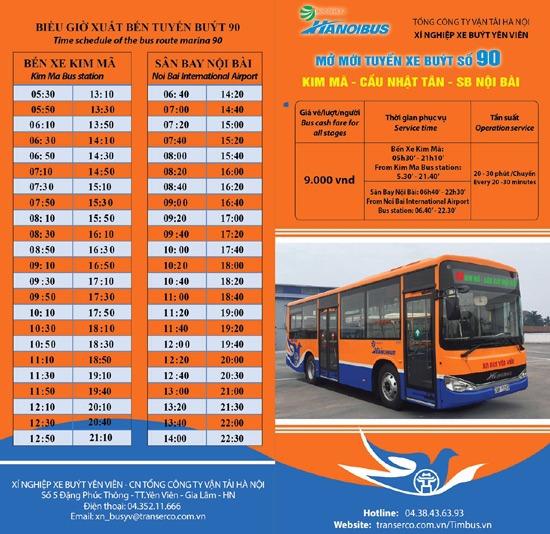 Thoi gian chay tuyen xe buyt 90 tu ben xe kim ma di noi bai - Xe Bus / Buýt đi Nội Bài chất lượng cao giá cực rẻ chỉ từ 9.000 đồng